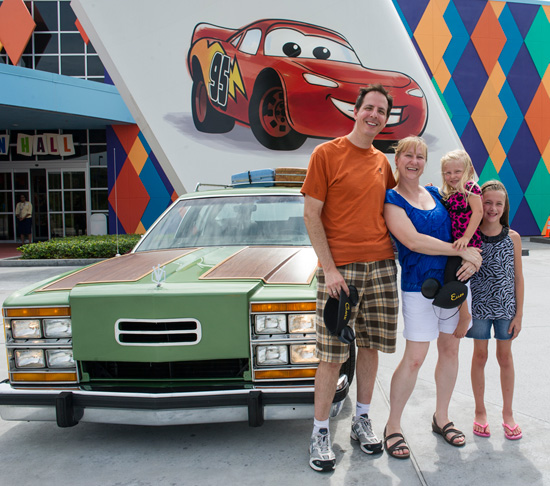 The Real-Life Griswolds and their Family Truckster in Front of Disney's Art of Animation Resort at Walt Disney World Resort