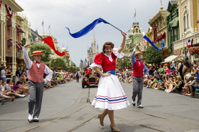 "Walt Disney World Resort guests were treated to a fun-filled, patriotic spectacle in a spirited procession down Main Street, U.S.A., to celebrate Independence week as part of ""Limited Time Magic."""