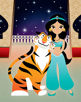 September Merchandise Events at the Disneyland Resort, Featuring 'Jasmine and Rajah' by Michelle Romo