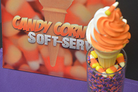 Candy Corn Vanilla Ice Cream with Surprise Candy Corn at the Bottom of the Cone at Storybook Treats in Fantasyland