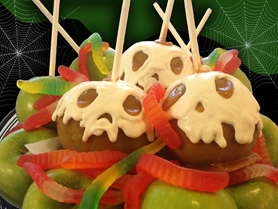 Skull Caramel Apple Delight Layered in White Chocolate at the Disneyland Resort