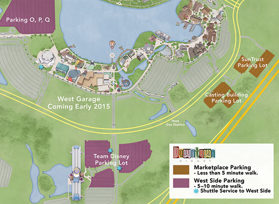 Downtown Disney Parking Map