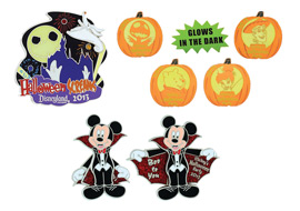 Halloween-themed Pins at Mickey's Halloween Party at Disneyland Park