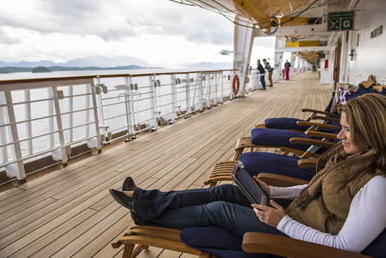 Relaxing on Deck 4 on a Disney Cruise to Alaska