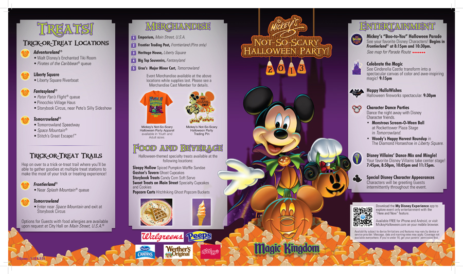 A special trick or treat experience just for you at walt disney mickeys not so scary halloween party park map for september 24 2013 gumiabroncs Images