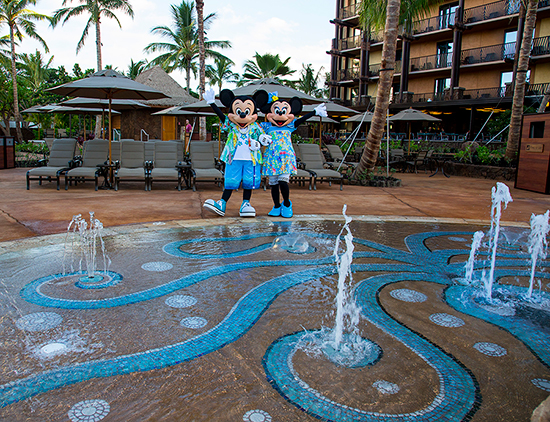 Mickey Mouse and Minnie Mouse Say Hello from Ka Maka Landing at Aulani, a Disney Resort & Spa