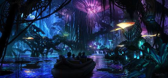 Artist Rendering Of AVATAR Themed Land At Night Coming To Disneys Animal Kingdom