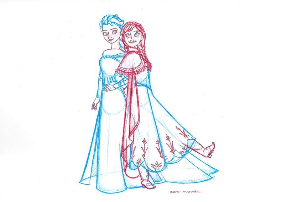 Anna and Elsa by Sketch Artists at the Disneyland Resort