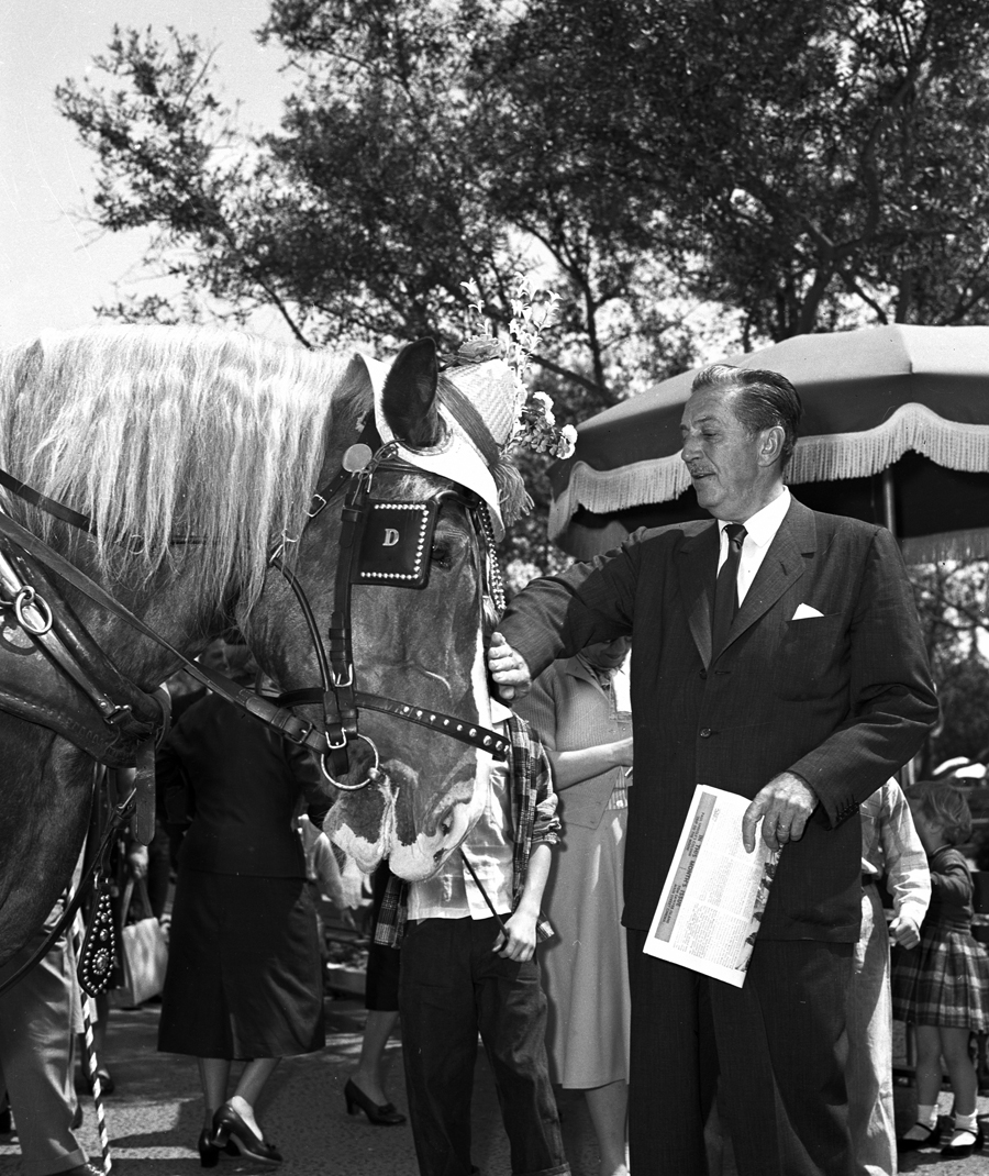 Walt Disney and a Haberdashed Horse at Disneyland Park in 1957