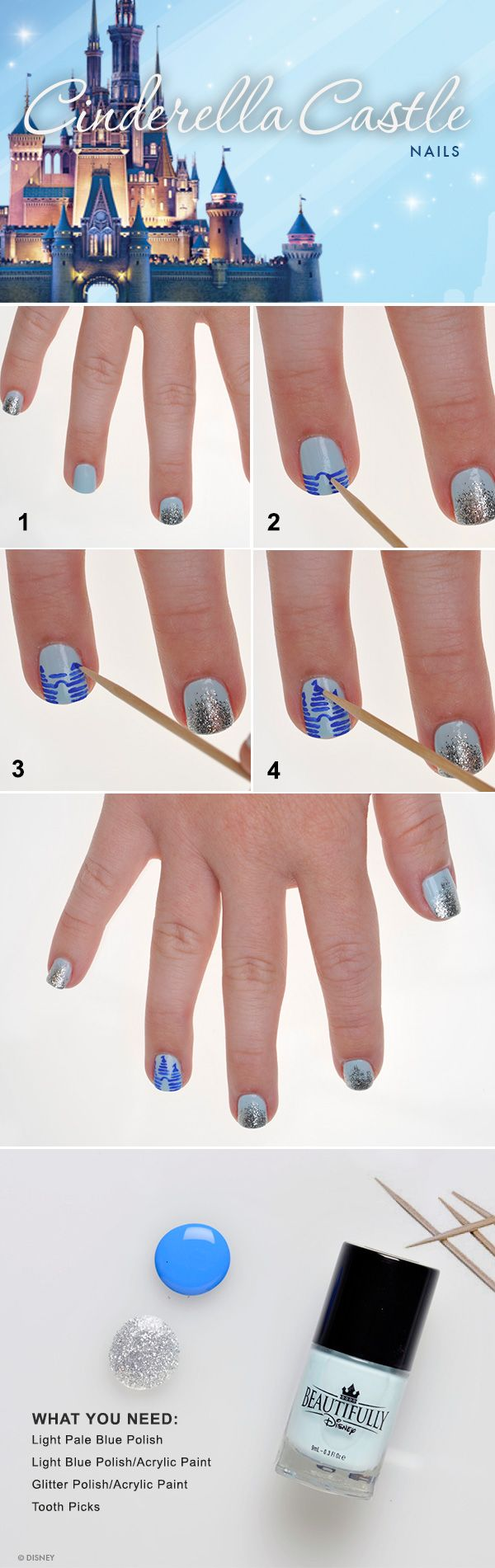 Show your disney side cinderella castle nail tutorial disney dsn966447 prinsesfo Gallery