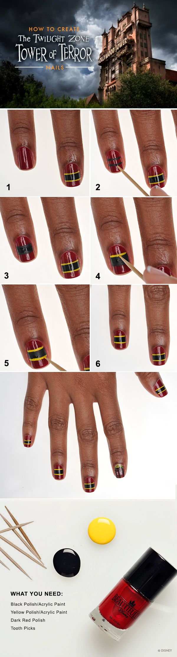 Show Your Disney Side: Tower of Terror Nail Tutorial