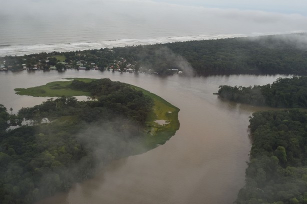 aerial of Tortuguero taken from the Nature Air flight from San Jose.