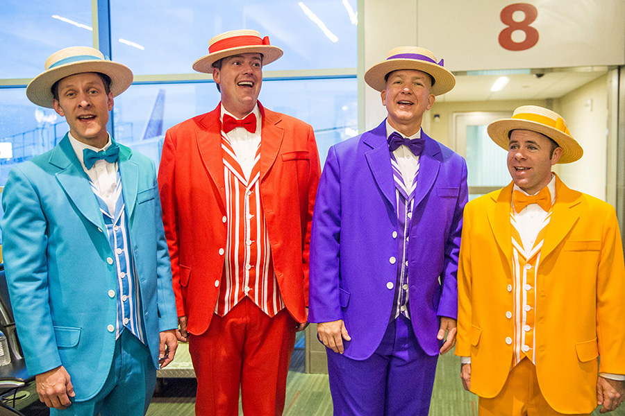 "At Dallas' Love Field, The Dapper Dans performed a few songs involving ""flight,"" including the famous tune ""You Can Fly."""