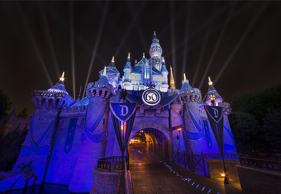 A DAZZLING NIGHT (ANAHEIM, Calif.) - A special medallion and diamond accents honoring the Disneyland Resort Diamond Celebration illuminate the iconic Sleeping Beauty Castle at Disneyland park. (Paul Hiffmeyer/Disneyland Resort)