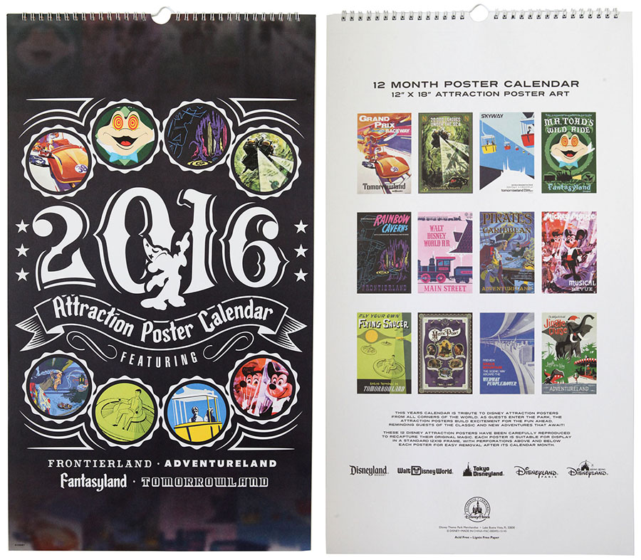 Calendar Posters 2015 : Disney parks attraction poster deluxe calendar returns for