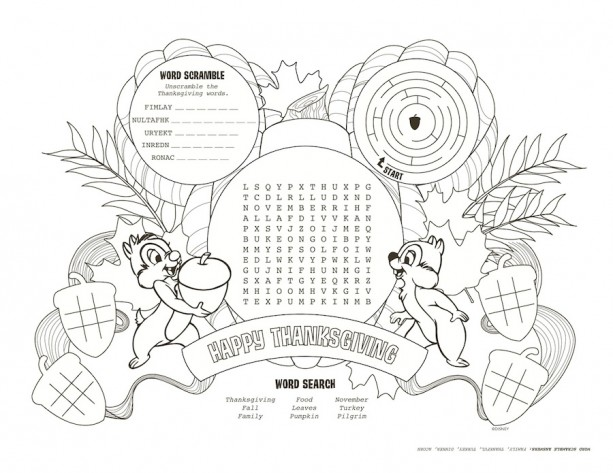 Download Disney Parks Inspired Kids\' Thanksgiving Placemats | Disney ...