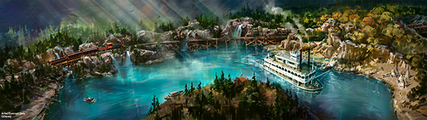 Rivers of America and Disneyland Railroad at Disneyland Park