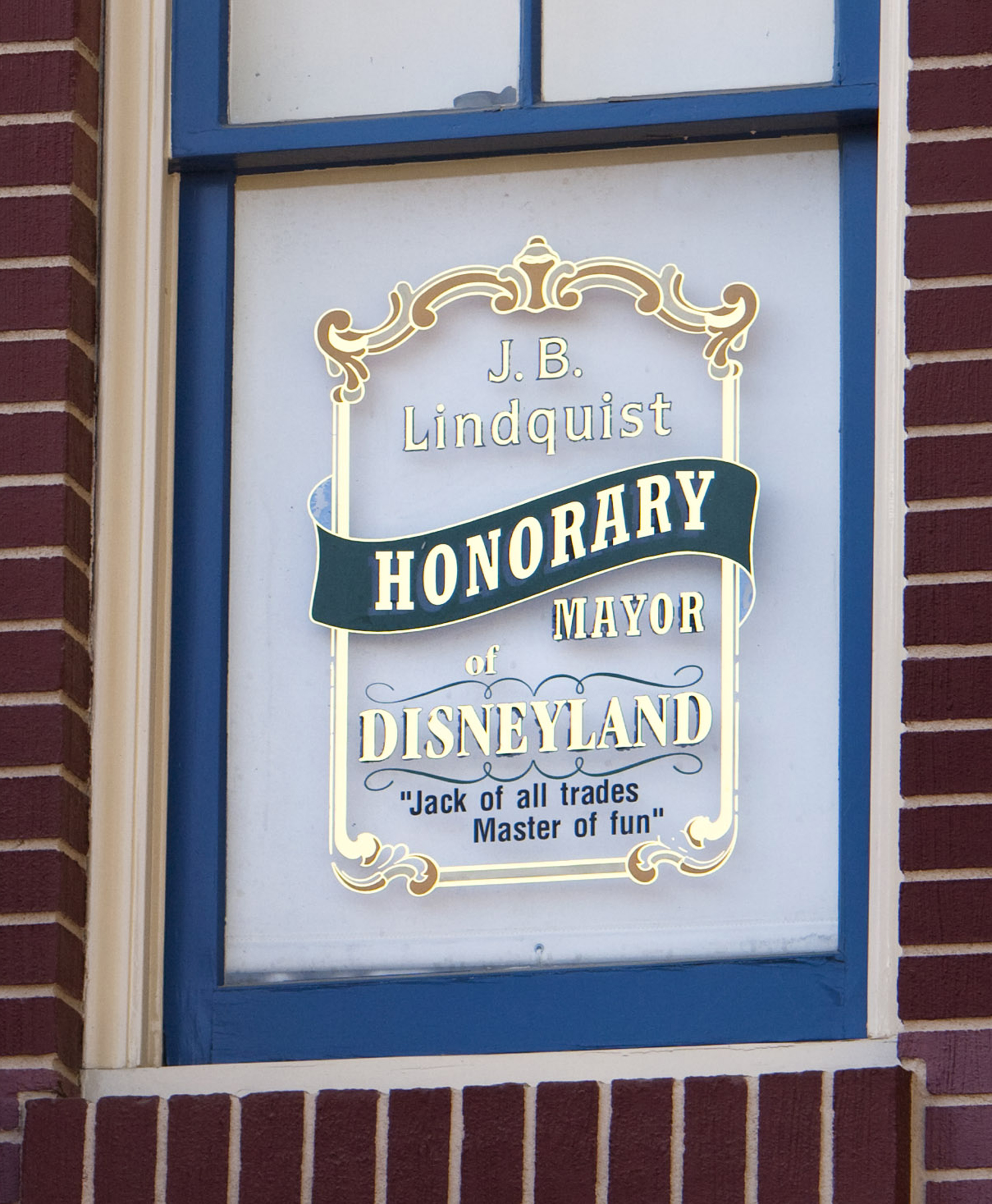 Jack Lindquist's Main Street Window at Disneyland City Hall