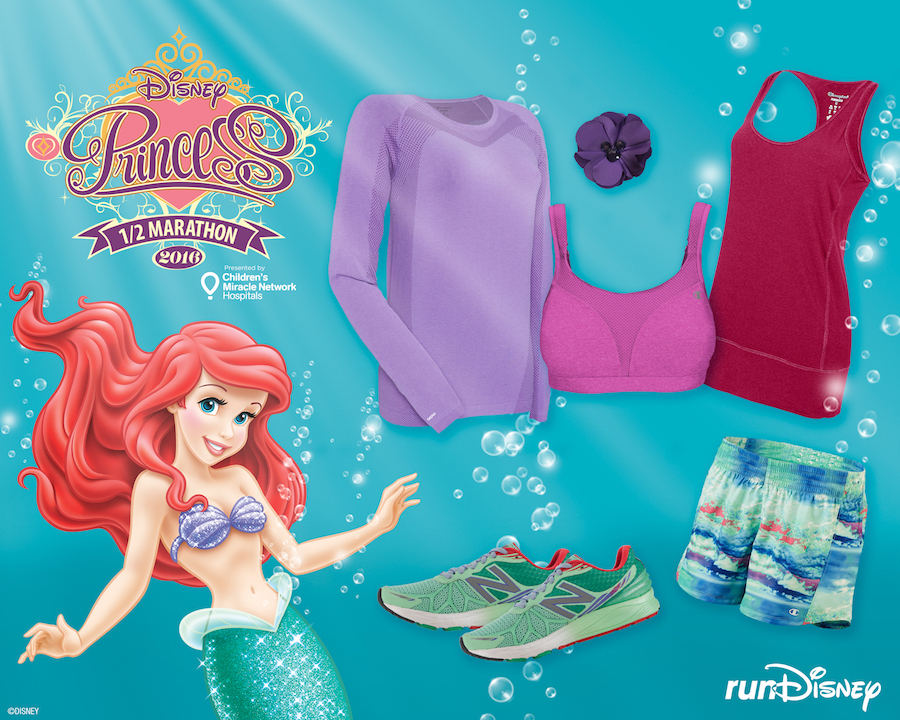 The little mermaid inspired style for disney princess half marathon ariel inspired outfit from champion and new balance perfect for the disney princess half marathon altavistaventures Image collections