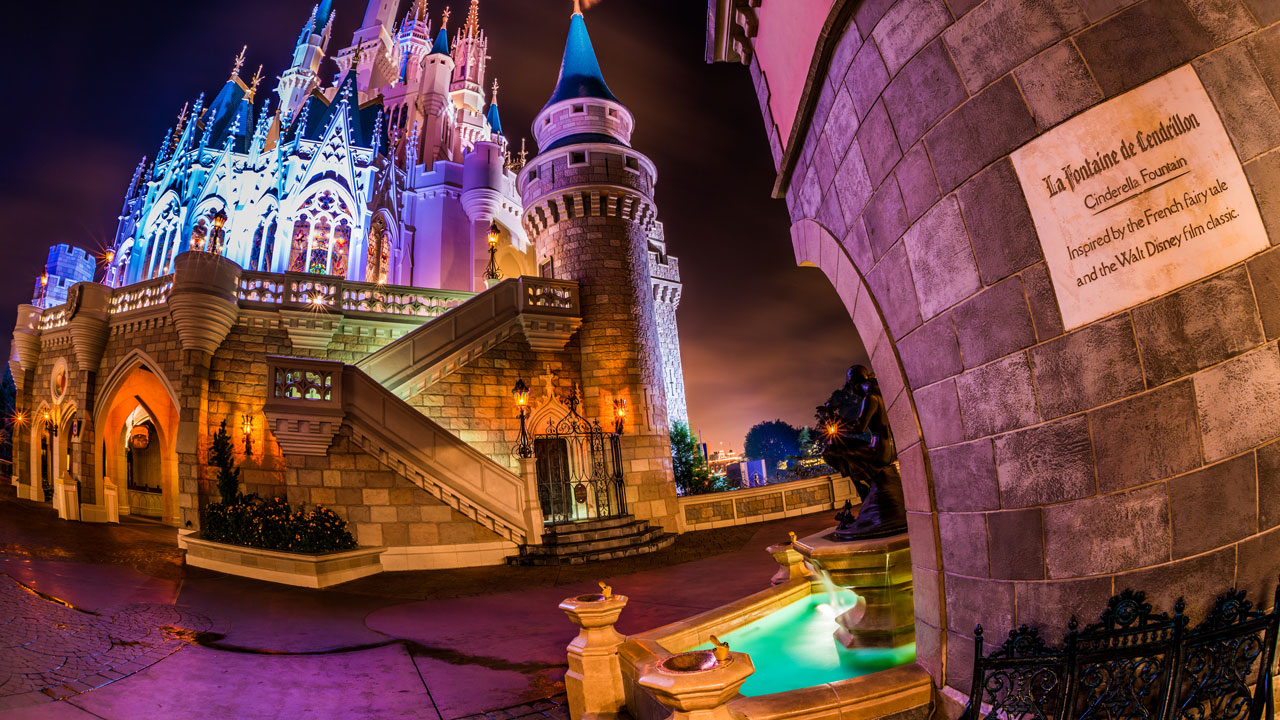 Disney Parks After Dark: Cinderella Castle & Fountain