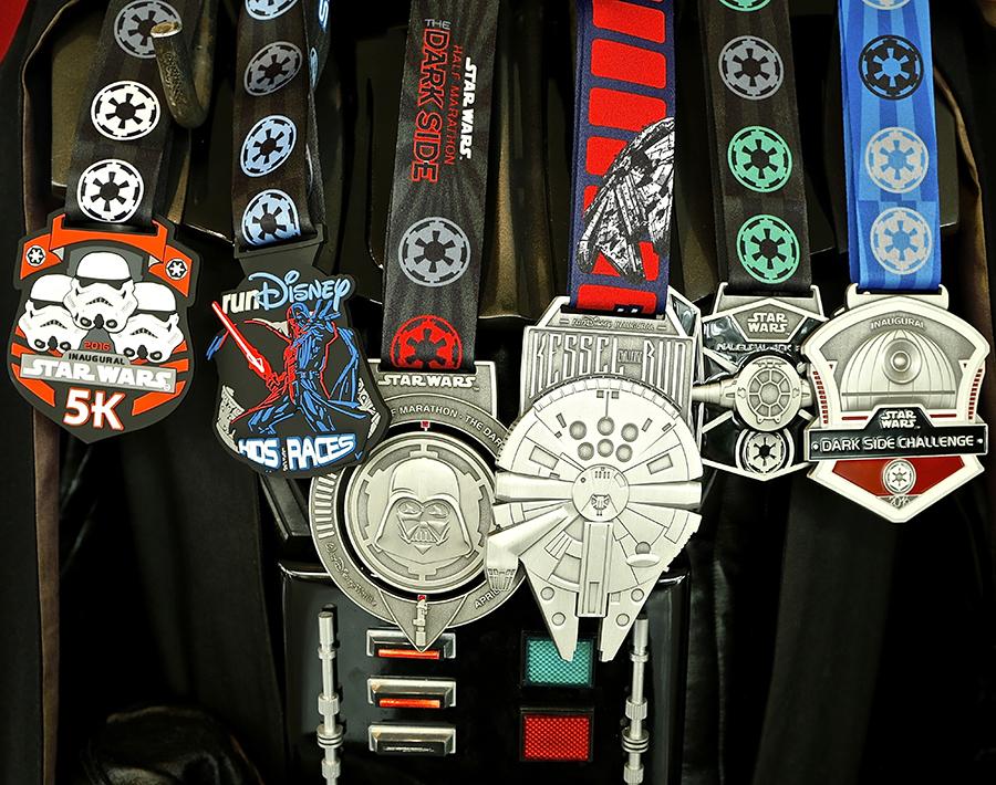 medal reveal for rundisney star wars half marathon the dark side