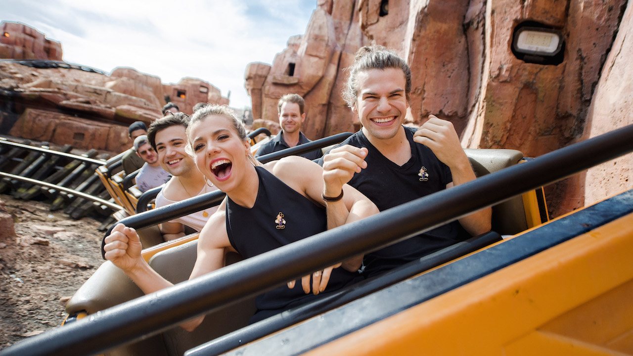 (MARCH 12, 2016): The Band Perry (Front Row, L-R: Kimberly Perry, Reid Perry, Second Row: Neil Perry) take a ride March 12, 2016 on Big Thunder Mountain Railroad at Magic Kingdom Park in Lake Buena Vista, Fla.  The band visited Walt Disney World Resort during a break from their tour. (Chloe Rice, photographer)