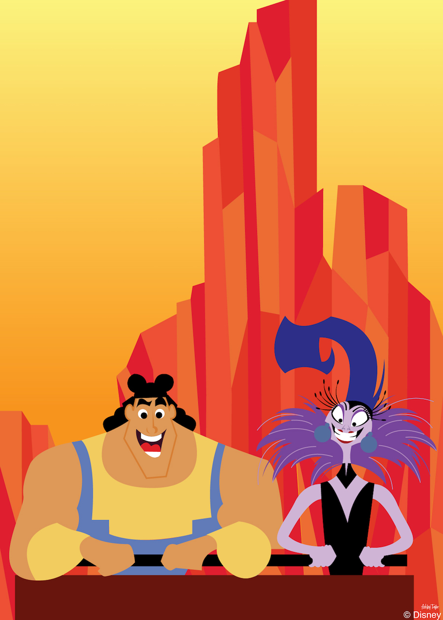 Disney Doodle: Yzma & Kronk Take On Big Thunder Mountain Railroad