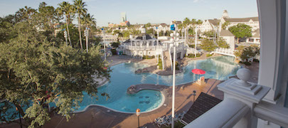 The View of Stormalong Bay pool from Room 4685 at Disney's Beach Club Resort