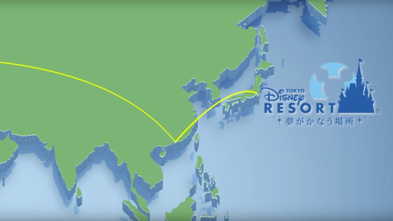 Graphic of Plane Jump from Hong Kong Disneyland to Tokyo Disney Resort