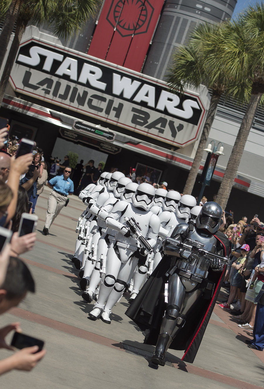 The March of the First Order Stormtrooper procession led by Captain Phasma from the Star Wars Launch Bay