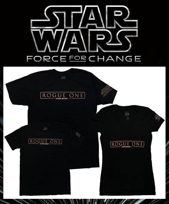 Twenty-five percent of the retail sale price of Rogue One: A Star Wars Story T-Shirts will be donated to U.S. Fund for UNICEF in support of UNICEF Kid Power