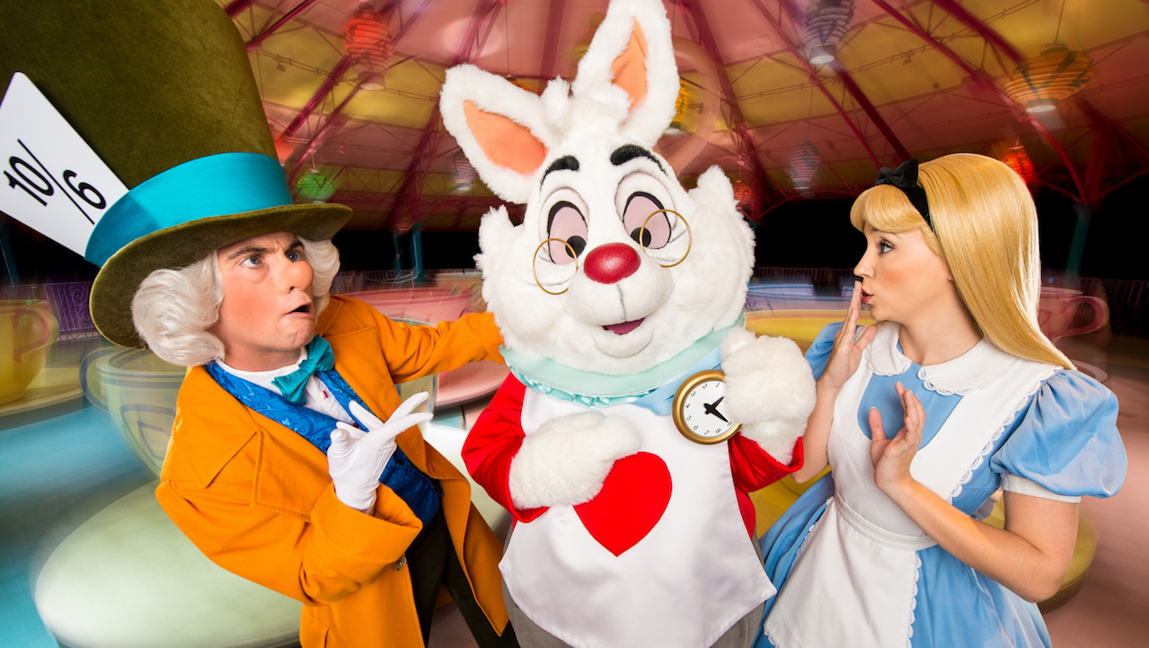 Alice, Mad Hatter and the White Rabbit at Mad Tea Party at Magic Kingdom Park