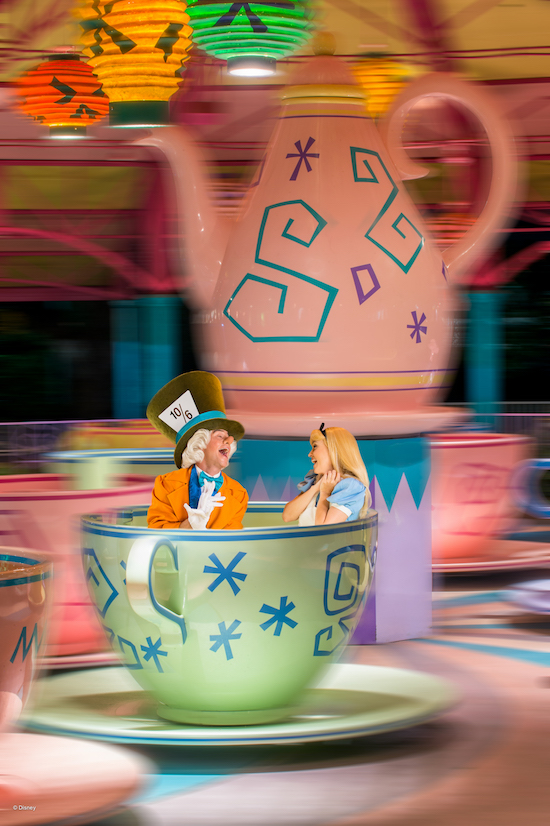 Alice and Mad Hatter at Mad Tea Party at Magic Kingdom Park