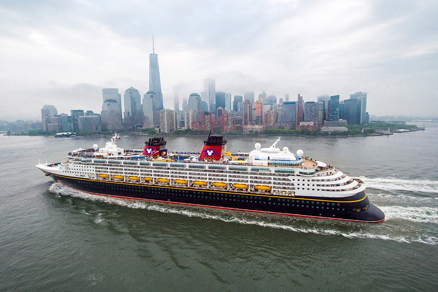 Disney Cruise Line Cruiser Returning to Port at New York, New York