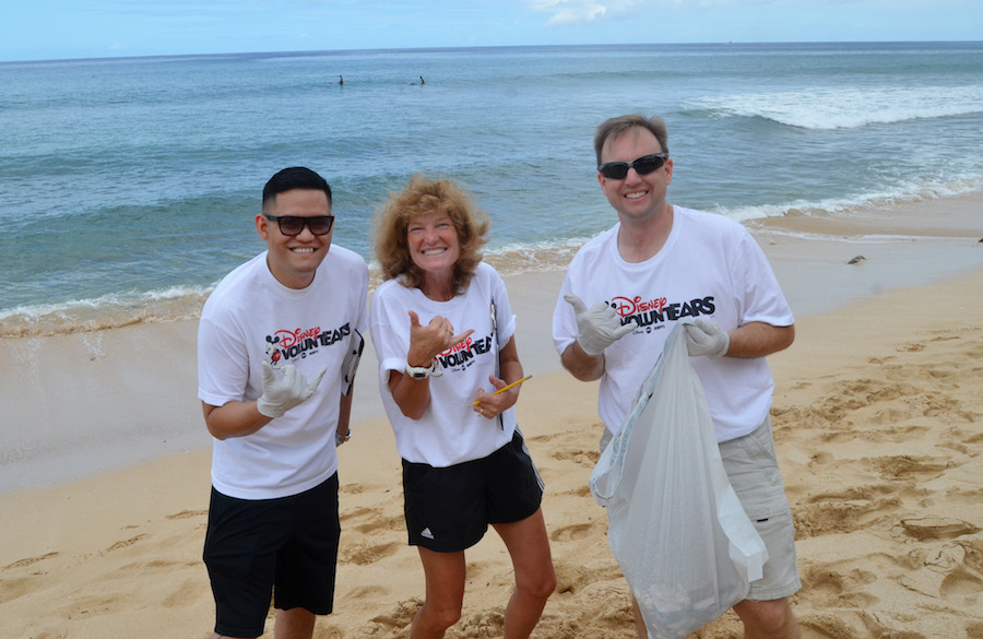 Cast members at Aulani, a Disney Resort & Spa  participated in beach cleanups