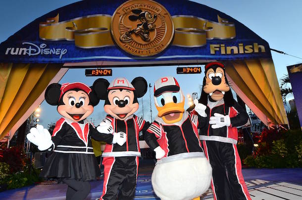 Minnie, Mickey, Donald and Goofy at the Walt Disney World Marathon finish line