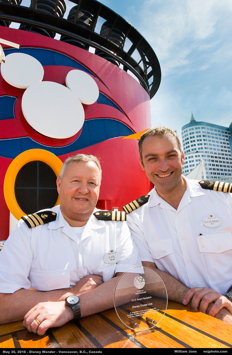 Chief Electrical Engineer Alessandro and Environmental Officer Karl receive the Port of Vancouver's 2015 Blue Circle Award on behalf of Disney Cruise Line.