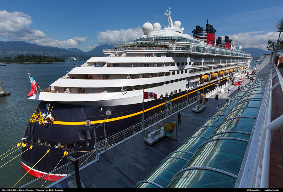 The Disney Wonder docked and connected to shore power in the Port of Vancouver.