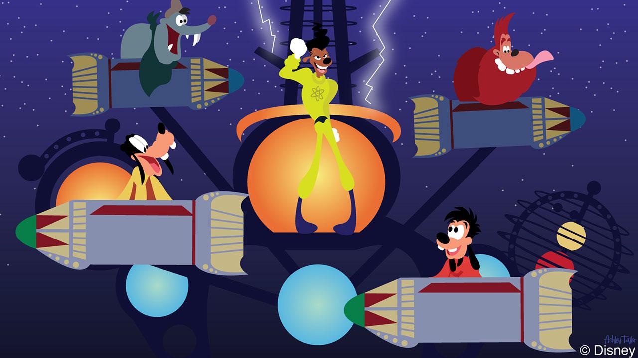 Disney Doodle: Goofy Fun at Astro Orbiter