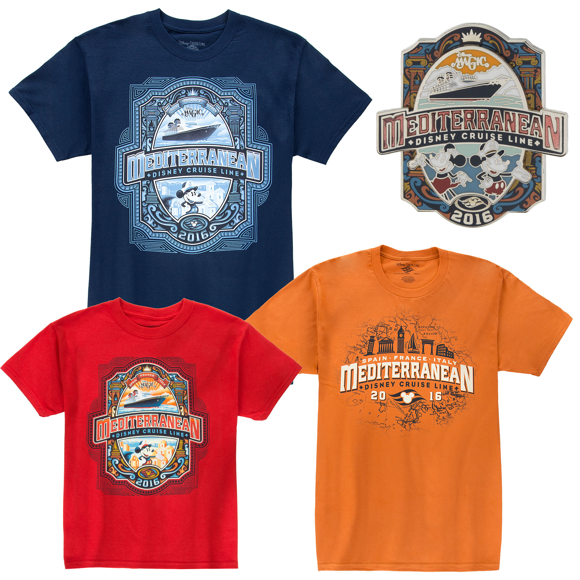 The Mediterranean Season Collection Apparel for Adults and Youth and Commemorative Logo Pin