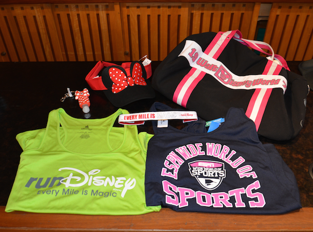 runDisney Tank Top, ESPN Wide World of Sports Tank Top, Walt Disney World Sports bag, runDisney headband, Minnie visor and Minnie hand sanitizer