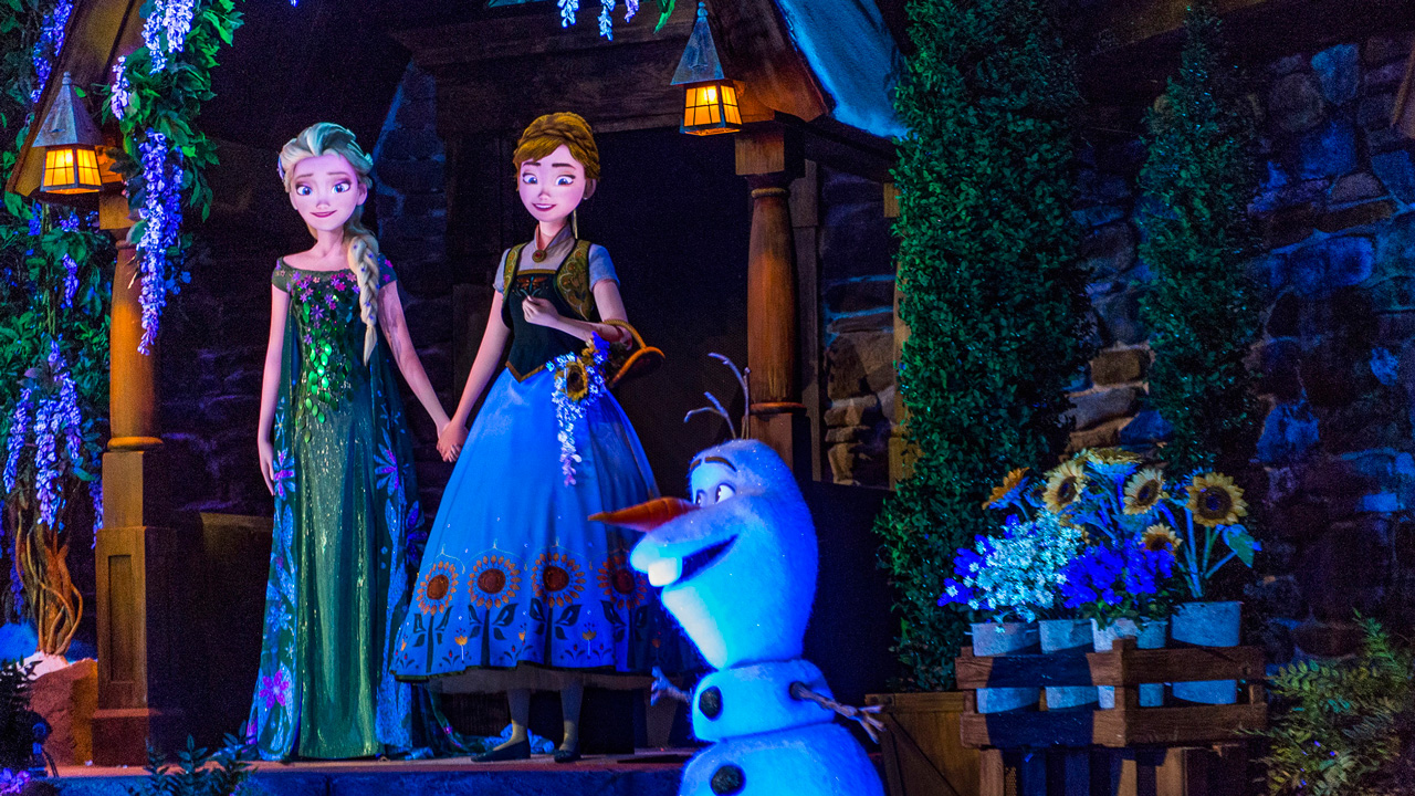 Elsa, Anna and Olaf at Frozen Ever After at Epcot