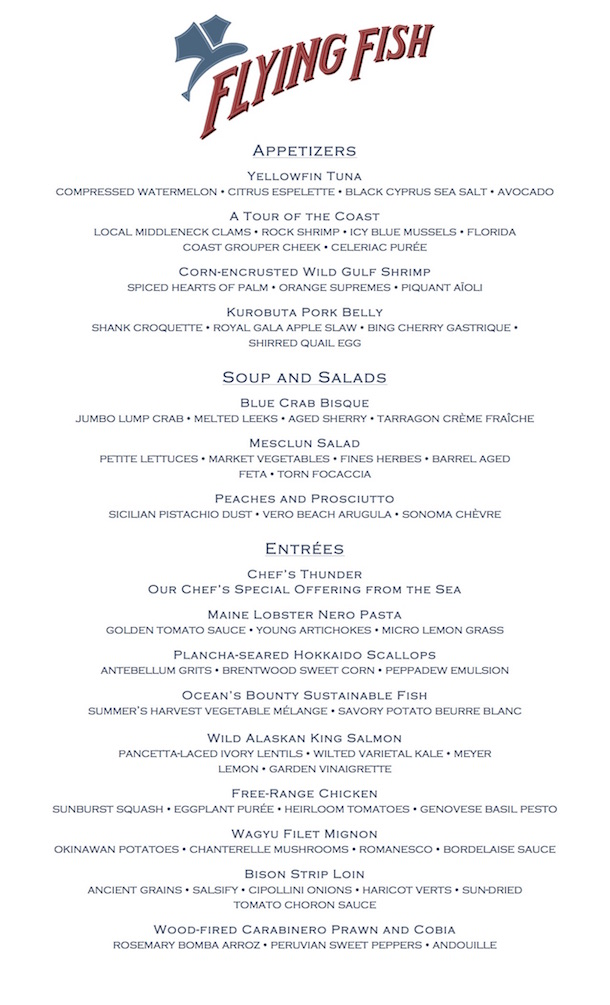 Flying Fish Restaurant Menu
