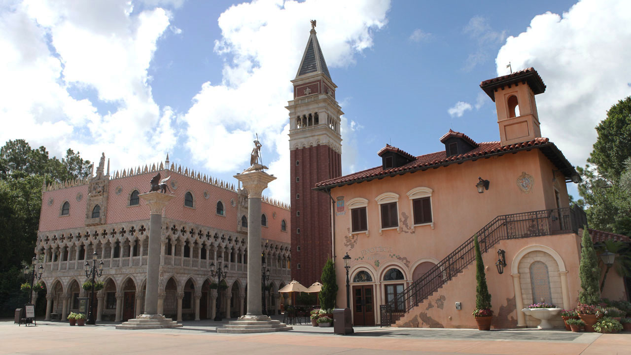 Replica of St. Mark's Campanile and Recreation of Doge's Palace at the Italy Pavilion at Epcot