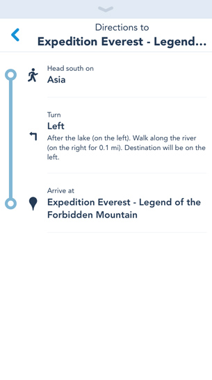 Get Directions in My Disney Experience app