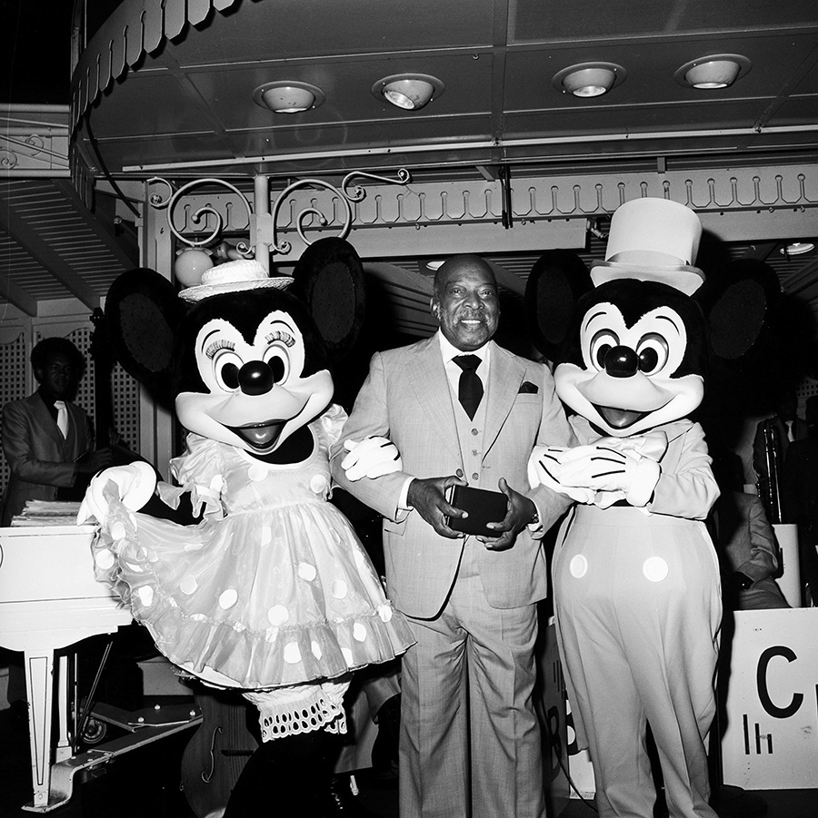 Count Basie with Mickey and Minnie at Carnation Plaza Gardens at Disneyland Park