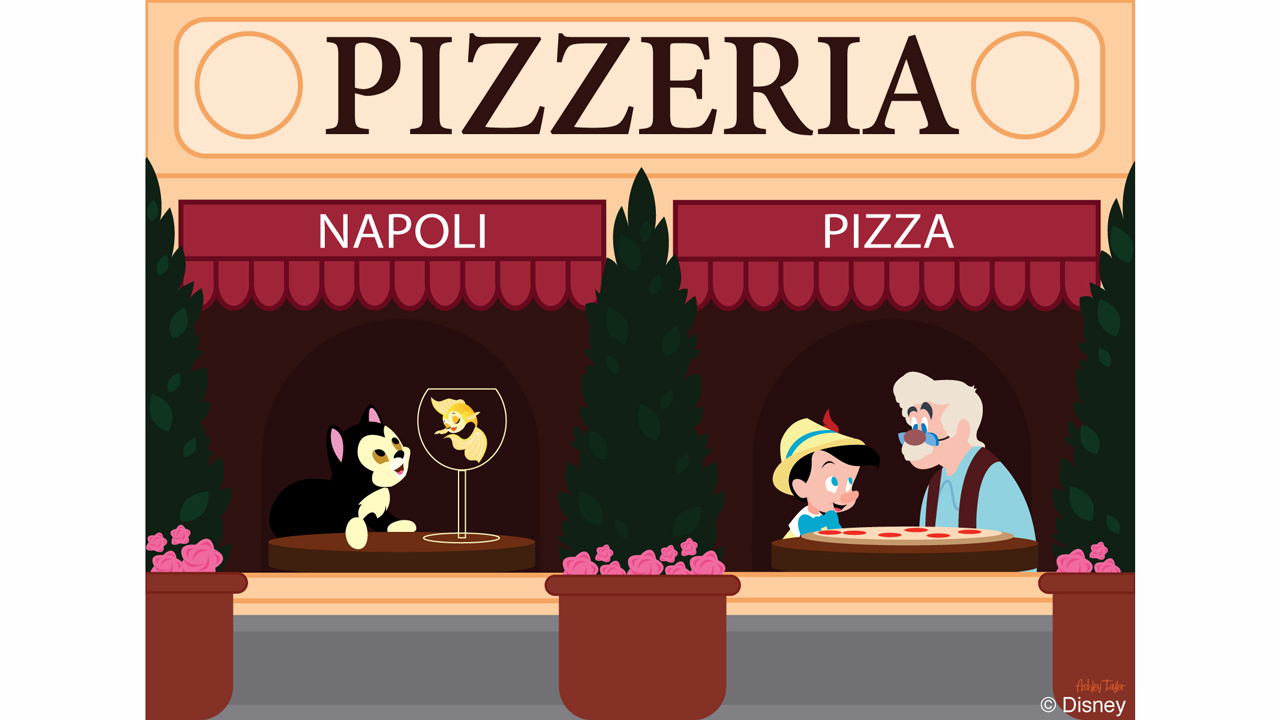 Disney Doodle: Pinocchio & Geppetto Visit the Italian Pavilion at Epcot