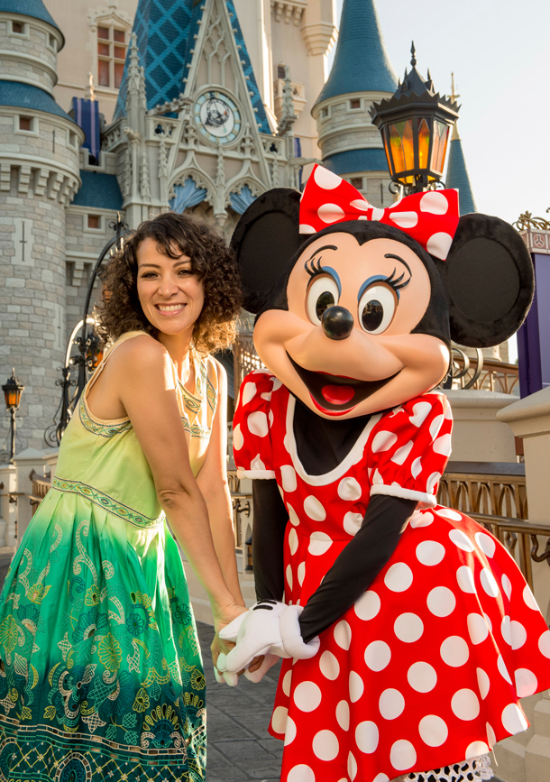 Gaby Moreno with Minnie Mouse at Magic Kingdom Park
