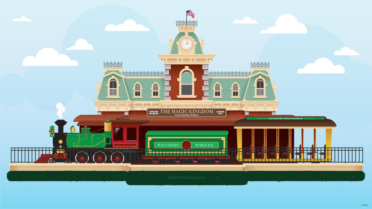 45th Anniversary Wallpaper: Walt Disney World Railroad Train Station
