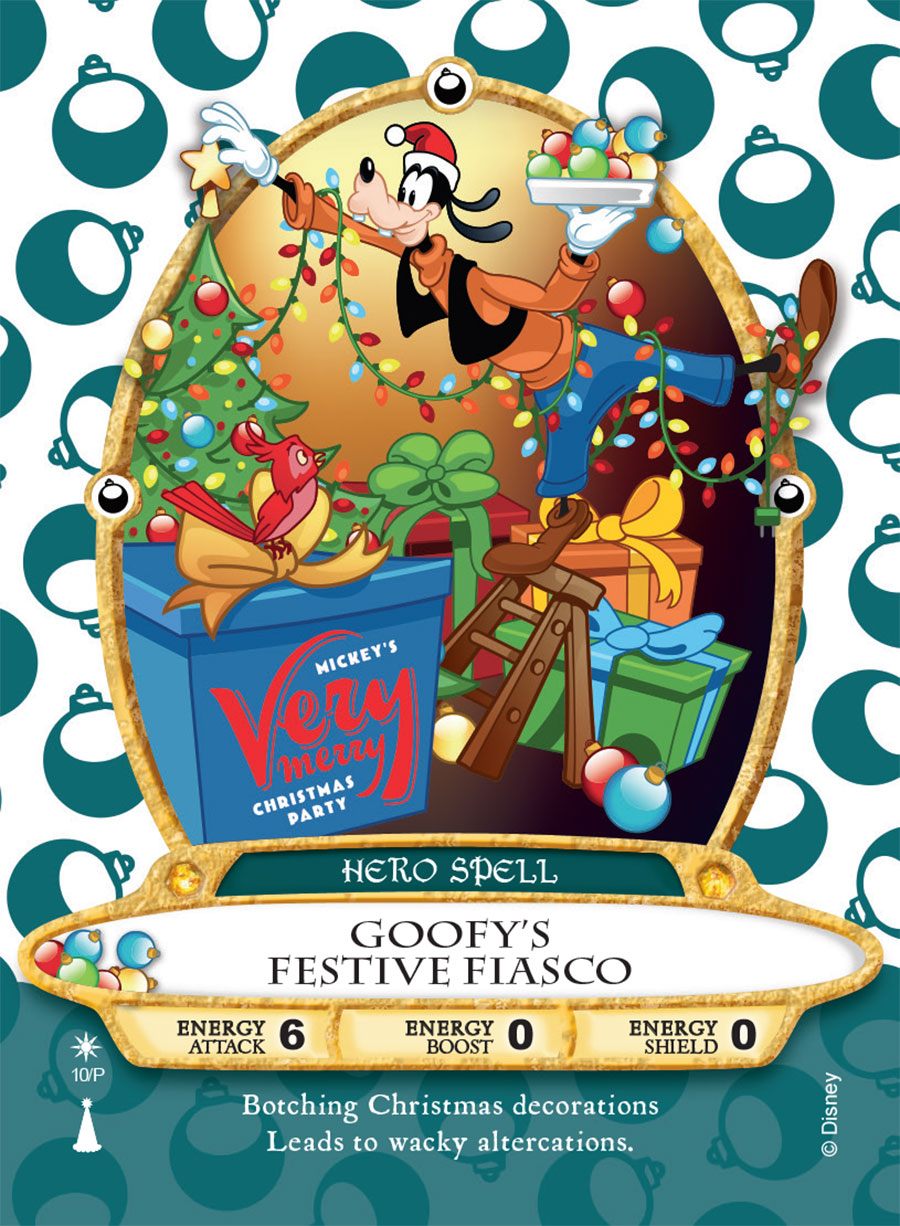 Sneak Peek: 'Goofy's Festive Fiasco' Sorcerers of the Magic Kingdom Card For Mickey's Very Merry Christmas Party